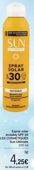 Oferta de Spray solar invisible SPF30 LES COSMÉTIQUES Sun Ultimate por 4,25€