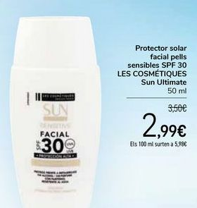 Oferta de Protector solar facial pieles sensibles SPF 30 LES COSMÉTIQUES Sun Ultimate por 2,99€