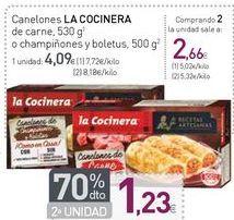 Oferta de Canelones LA COCINERA de carne o champiñones y boletus  por 4,09€