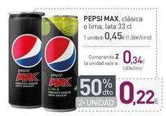 Oferta de PEPSI MAX clásica o lima  por 0,45€