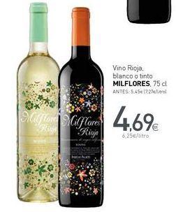 Oferta de Vino Rioja, blanco o tinto MILFLORES por 4,69€