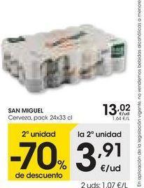 Oferta de SAN MIGUEL Cerveza, pack 24x33 cl por 13,02€