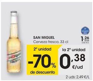 Oferta de SAN MIGUEL Cerveza fresca, 33 cl por 1,26€