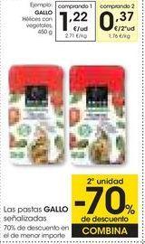 Oferta de GALLO Hélices con vegetales,450 g por 1,22€