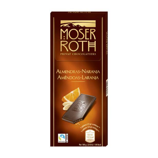Oferta de Tabletas de chocolate negro 52% con almendra y naranja por 1,29€