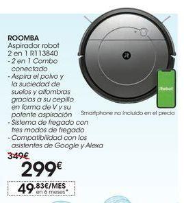 Oferta de ROOMBA Aspirador robot 2 en 1 R113840 por 299€