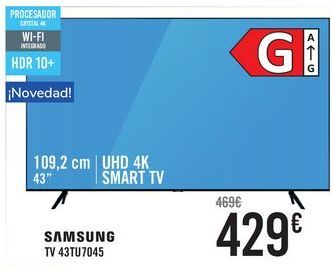 Oferta de SAMSUNG TV 43TU7045  por 429€