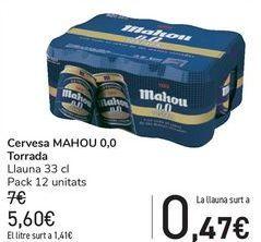 Oferta de Cerveza MAHOU 0,0 Tostada  por 5,6€