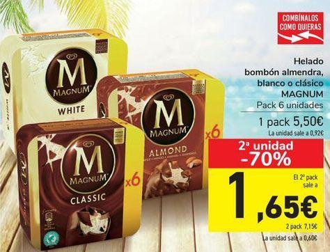 Oferta de Helado bombón almendra, blanco o clásico MAGNUM por 5,5€