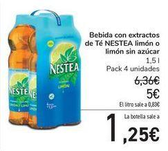 Oferta de Bebida con extractos de Té NESTEA limón o limón sin azúcar  por 5€