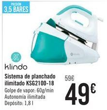 Oferta de Klindo Sistema de planchada ilimitado KSG2100-18  por 49€
