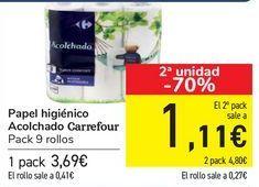 Oferta de Papel higiénico Acolchado Carrefour  por 3,69€