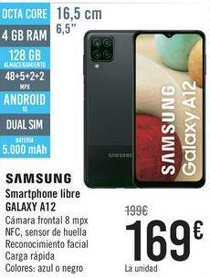 Oferta de SAMSUNG Smartphone libre GALAXY A12  por 169€