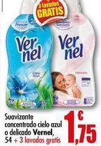 Oferta de Suavizante concentrado cielo azul o delicado Vernel, 54 lavados por 1,75€