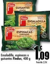 Oferta de Ensaladilla, espinacas o guisantes Findus, 400g por 1,09€
