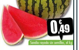 Oferta de Sandía rayada sin semillas, el kg por 0,49€