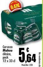 Oferta de Cerveza Mahou clasica, pack 12x33cl por 5,64€