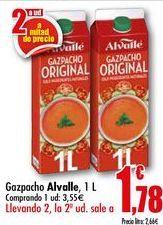 Oferta de Gazpacho Alvalle, 1 L por 3,55€