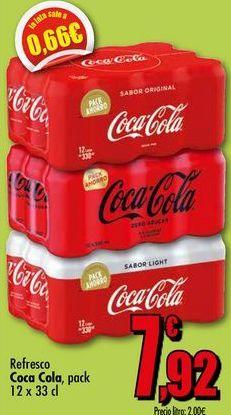 Oferta de Refrescos Coca-Cola, pack 12x33cl por 7,92€