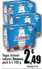 Oferta de Yogur Actimel sabores Danone, pack 6x100g por 2,49€