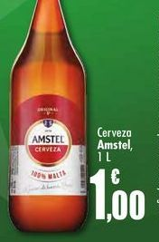 Oferta de Cerveza Amstel, 1L por 1€