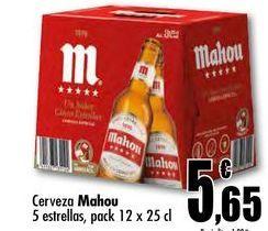 Oferta de Cerveza Mahou 5 estrellas, pack 12 x 25 cl por 5,65€