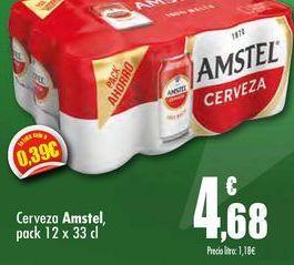Oferta de Cerveza Amstel pack 12 x 33cl por 4,68€