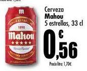 Oferta de Cerveza Mahou 5 estrellas, 33cl por 0,56€