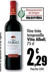 Oferta de Vino tinto tempranillo Viña Albali, 75cl por 2,29€