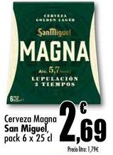 Oferta de Cerveza Magna San Miguel, pack 6 x 25cl por 2,69€