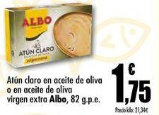 Oferta de Atún claro en aceite de oliva o en aceite de oliva virgen extra Albo, 82 g.p.e. por 1,75€