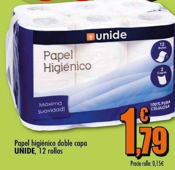Oferta de Papel higiénico doble capa UNIDE, 12 rollos por 1,79€