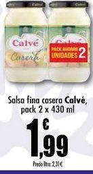 Oferta de Salsa fina casera Calve, pack 2 x 430ml por 1,99€