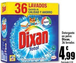Oferta de Detergente en polvo Dixan, 36 lavados por 4,99€