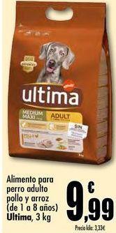 Oferta de Alimento para perro adulto pollo y arroz (de 1 a 8 años) Ultima, 3kg por 9,99€