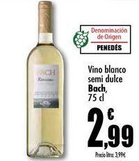 Oferta de Vino blanco semi dulce Bach, 75cl por 2,99€
