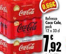Oferta de Refresco Coca Cola, pack 12 x 33cl por 7,92€