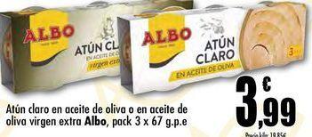 Oferta de Atún claro en aceite de oliva o en aceite de oliva virgen extra Albo, pack 3 x 67 g.p.e. por 3,99€