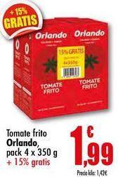 Oferta de Tomate frito Orlando, pack 4 x 350g por 1,99€