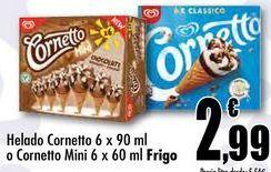 Oferta de Helados Cornetto 6x90ml o Cornetto Mini 6 x 60ml Frigo por 2,99€
