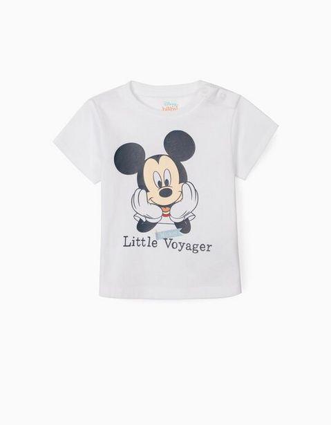 Oferta de Camiseta para Recién Nacido 'Mickey Voyager', Blanco por 5,99€