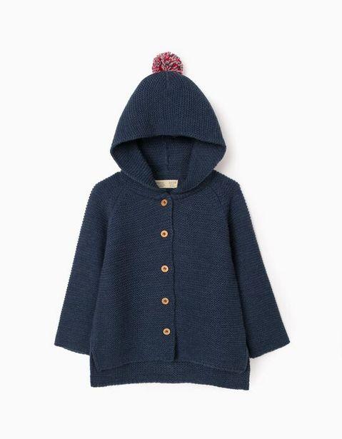 Oferta de Chaqueta de Punto con Capucha para Bebé Niña, Azul Oscuro por 22,99€