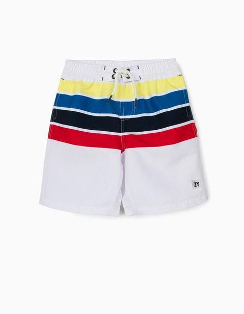 Oferta de Bañador Short Protección UV 80 para Niño 'Stripes', Blanco por 5,99€