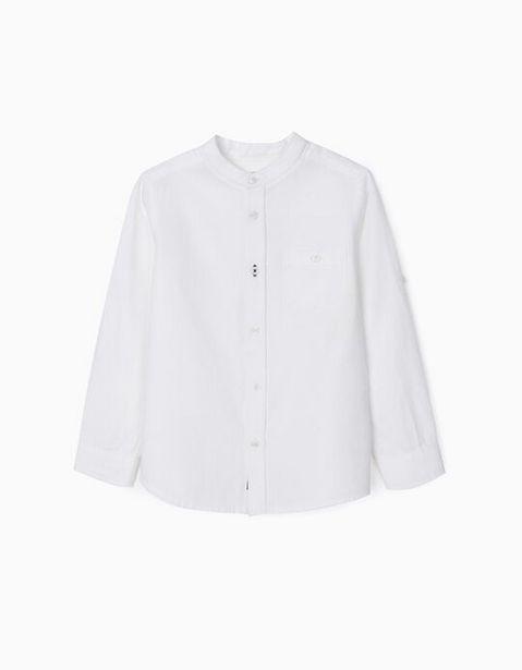 Oferta de Camisa Sarga con Cuello Mao para Niño, Blanco por 22,99€