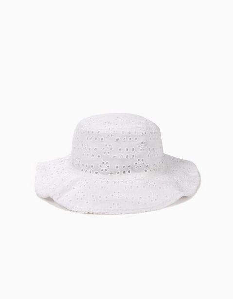 Oferta de Sombrero para Niña con Bordado Inglés, Blanco por 9,99€