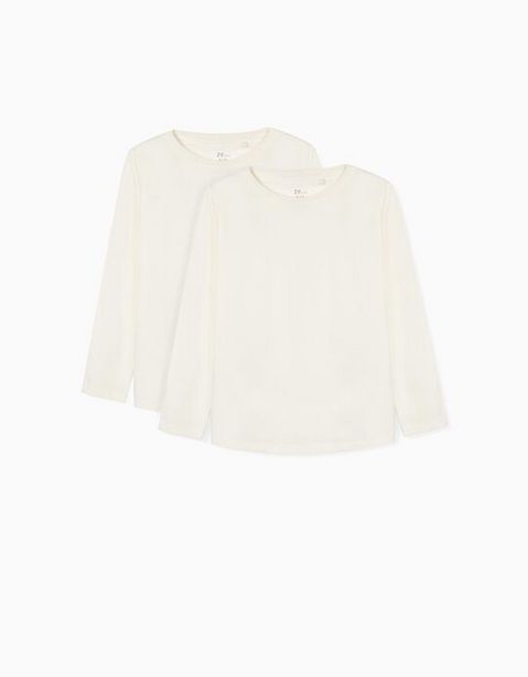 Oferta de 2 Camisetas de Manga Larga para Niña, Blanco por 8,99€