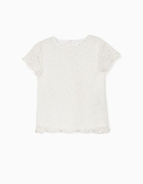 Oferta de Blusa Encaje para Niña, Blanco por 12,99€