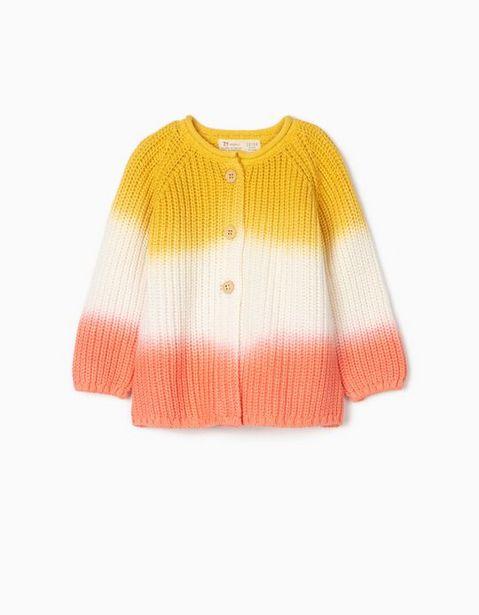 Oferta de Chaqueta de Punto Degradado para Bebé Niña, Amarilla/Blanca/Rosa por 19,99€