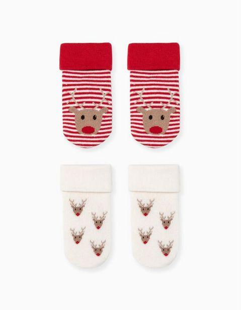 Oferta de 2 Pares de Calcetines Antideslizantes para Bebé 'Reindeer', Rojo/Beige por 5,99€