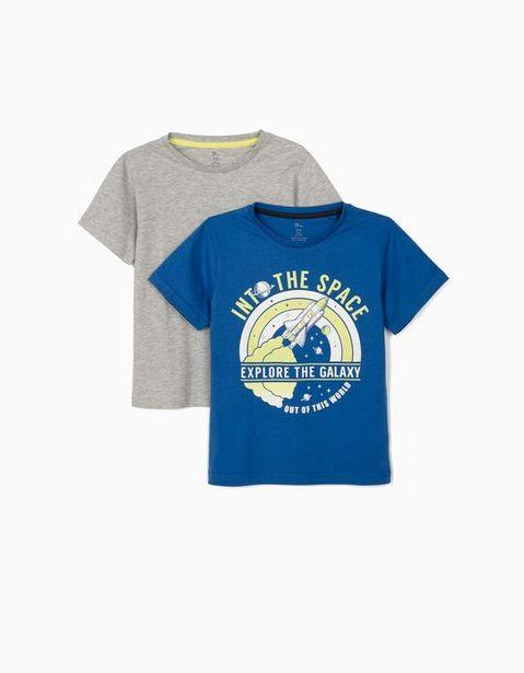 Oferta de 2 Camisetas para Niño 'Explore the Galaxy', Azul/Gris por 5,99€